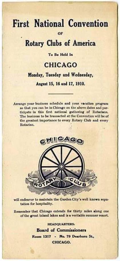 Cartel de la primera convencion de Rotary